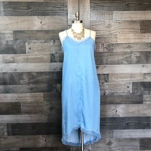 NEW RACHEL Rachel Roy Chambray Lace Trim Dress